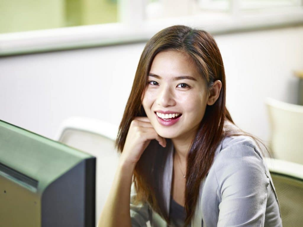 asian woman with beautiful smile